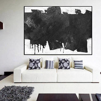 Original modern abstract painting, acrylic modern wall art, mid century black and white, large abstract painting, Contemporary Painting