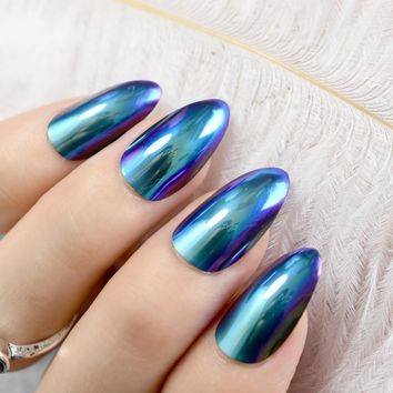 Chrome Mirror False Nail Metallic Stilettos Sharp False Nail Metal Blue Purple Fake Nails Acrylic Artificial Stiletto Nail Art