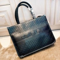DIOR high quality new fashion more letter leather shoulder bag handbag women Black