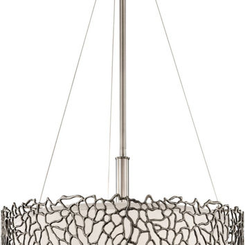0-000766>Silver Coral 3-Light Semi Flush Mount Classic Pewter