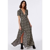 Missguided - Short Sleeve Button Through Maxi Dress Black Floral