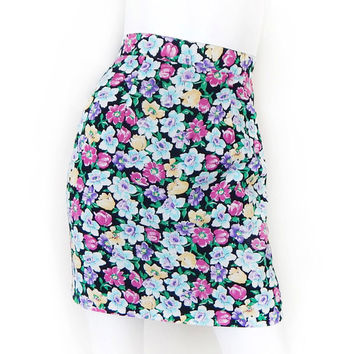 Vintage 80s High Waist Black Floral Print Mini Skirt - Women's Colorful Flower Print Short Wiggle Skirt - Size 2 Extra Small