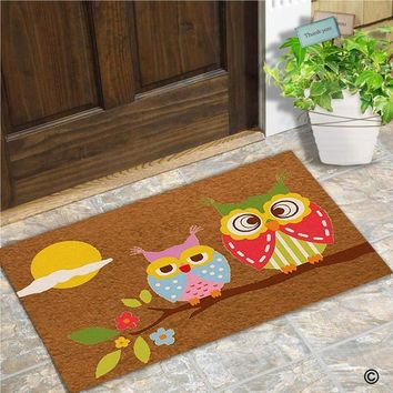 Autumn Fall welcome door mat doormat Funny  Entrance Front  Owl Home  Indoor Outdoor Decor  Non-Slip Rubber Backing Mat 30x18 Inch AT_76_7