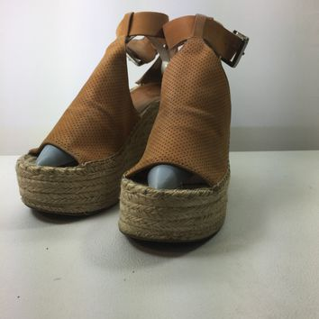 Marc Fisher Perforated Espadrille Platform Wedge, Size 8M