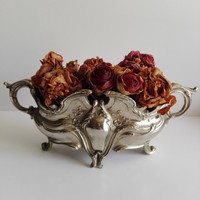Silver plated planter, style rococo, center piece , flower vase. Flower pot. French vintage.