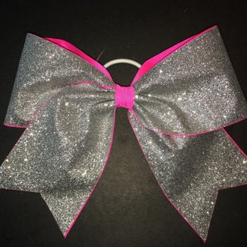 Silver Glitter on Neon Pink Cheer Bow