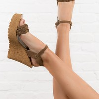Ari Braided Suede Wedges in Camel