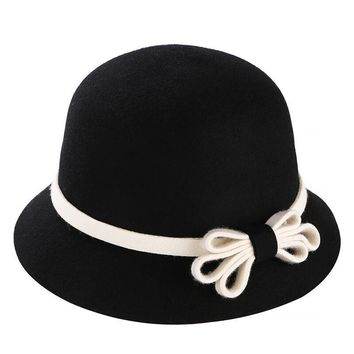 100% Wool Fedora Felt Hats For Women Solid Color Big Bow Kentucky Derby Hat Top Quality Chapeau Femme Vintage Winter Ladies