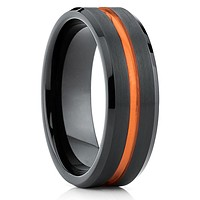 Orange Tungsten Wedding Band - Tungsten Carbide - Black Tungsten Ring Unique