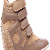 TAUPE TAUPE FAUX LEATHER VELVET SPIKE STUD HIDDEN SNEAKER WEDGE