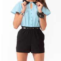 Collared Duo-Toned Romper