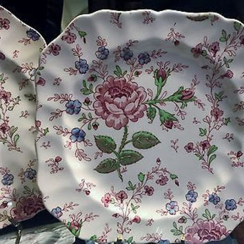 Johnson Brothers Square Scalloped Salad Plate in Rose Chintz Pink c1930