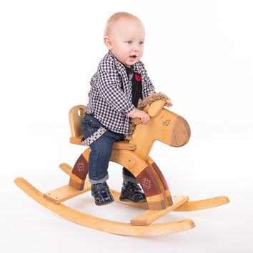 Wooden Rocking Horse eco friendly personalized kids toy
