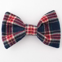 rsa0509fp - Plaid Flannel Bow Hair Clip