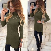 Sweater Long Sleeve Slim One Piece Dress [125463953423]