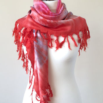 Coral Batik Scarf, Tie-Dye Square Shawl Scarf with Tassels, Mothers Day Gift, Wrap Scarf, ReddApple, Fast Delivery
