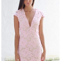 Light pink lace plunging neckline dress with nude liner | Danee | escloset.com