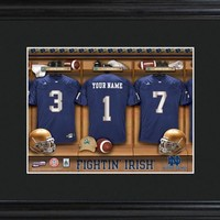College Locker Room Print in Wood Frame - Notre Dame