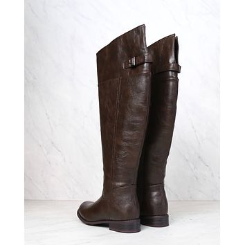 Rider's womens distressed tall riding boots - dark brown
