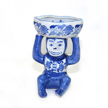 Vintage Ceramic Monkey Dish Monkey Business Card Holder Monkey Soap Dish Monkey Butler Monkey Figurine