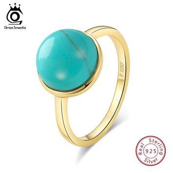 ORSA JEWELS Genuine 925 Sterling Silver Rings For Women Natural Stone Turquoises Anniversary Ring Fashion Female Jewelry SR69
