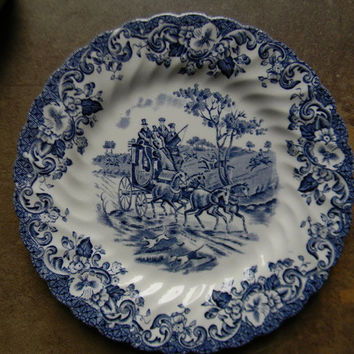Blue Transferware Plate Dogs Horse Horses Stagecoach Roses