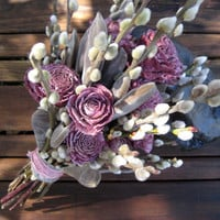 Washed Violet Spring Bridal Bouquet - Cedar Roses, Pussy Willow & Wisteria