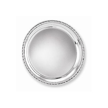 Silver-plated Round Fancy Edge Tray - Engravable Personalized Gift Item