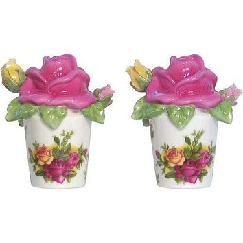 Rare Royal Albert Old Country Roses Sculpted Rose Salt and Pepper Shakers - Only 2 Available!