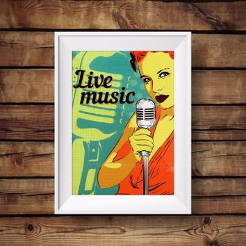 Retro style live music - vintage poster print - Home and wall decor print