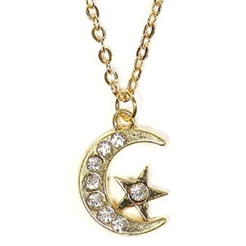 Crescent Moon Star Necklace Vintage Crystal Gold Tone Lunar Pendant NO22 Fashion Jewelry