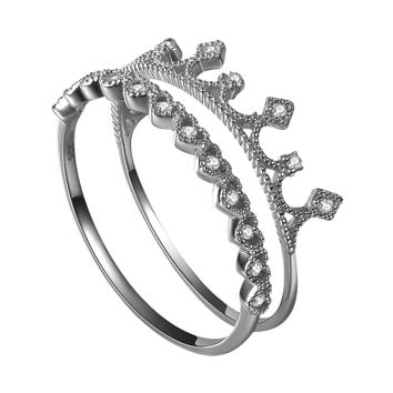 YAN & LEI Sterling Silver Rings Set with Crown Top and Linked Hearts Silver