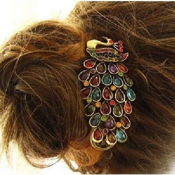 2016 Fashion New Bohemian Vintage Womens Ladies Colorful Rhinestone Peacock Hairpin Barrette Hair Clip Hair Accessories Jewelry