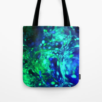 green bubbles abstract Tote Bag by Oksana