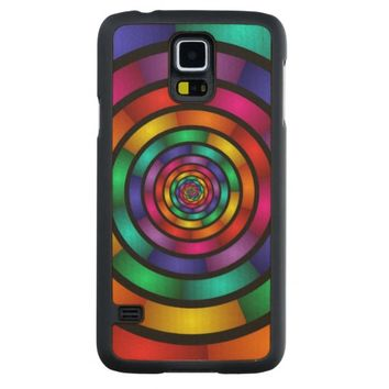Round and Psychedelic Colorful Modern Fractal Art Carved® Maple Galaxy S5 Case