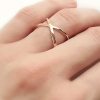 Gold Cross Ring, Modern Gold Plated Criss Cross Rings, Thin Silver X Statement Ring, Minimalist Jewelry