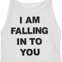 I am Falling Into You Graphic Print White Muscle Crop Tee