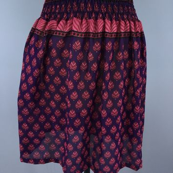 Chiffon Sari Skirt / Vintage Indian Sari / Purple & Red Leaf Print / Size L-XL