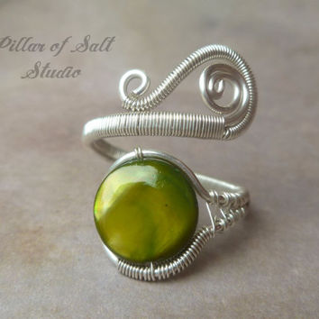 wire wrapped jewelry handmade, sterling silver filled Wire Wrapped Ring, adjustable ring, sterling silver ring, olive green mother of pearl
