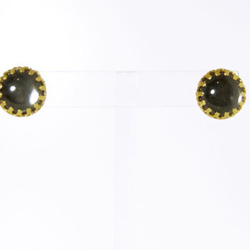 1970s Round Mood Glass & Gold Stud Earrings