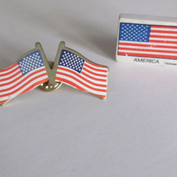 Double USA Flag Brooch American Flag Push Pin Red White and Blue Jewelry Old Glory 4th of July Jewelry