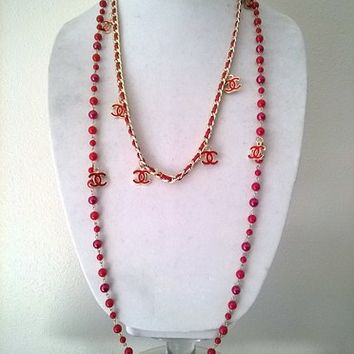 Gorgeous 3 Shades of Red Designer Inspired Pearl Necklace Set