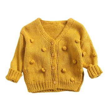 1-3 Years Old Baby Girl Sweater Child  Winter Ball In Hand Down Sweater Cardigan Jacket Cardigan For Girl Girls Cardigan #T30