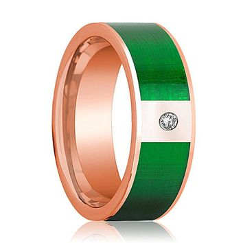 Mens Wedding Band 14K Rose Gold with Textured Green Inlay and Diamond Flat Polished Design