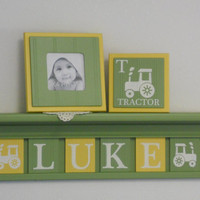 "FARM TRACTOR Nursery Decor Artwork 24"" Green Shelf 6 Yellow Green Letter Plaques Personalized LUKE Tractors Art Baby Boy Nursery Shower Gift"