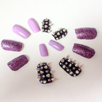 Glitter fake nails spiked acrylic nails nail art false nails purple artificial nails