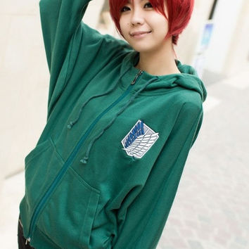 Anime Attack on Titan Cosplay Hoodies Sweater batwing-sleeved blouse Loose Scouting Legion Blue and White Emblem S-XXL = 1946205892
