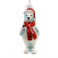 Holiday Ornaments Coca Cola Polar Bear Glass Ornament