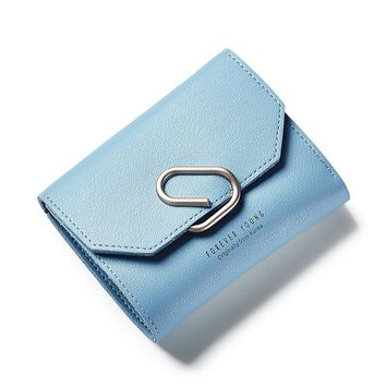 Paper Clip Decoration Lovely Leather Short Women Wallet Girls Change Purse Female Money Coin Card Holders Wallets Mini Carteras