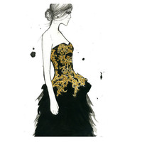 Watercolor Fashion Illustration McQueen by JessicaIllustration